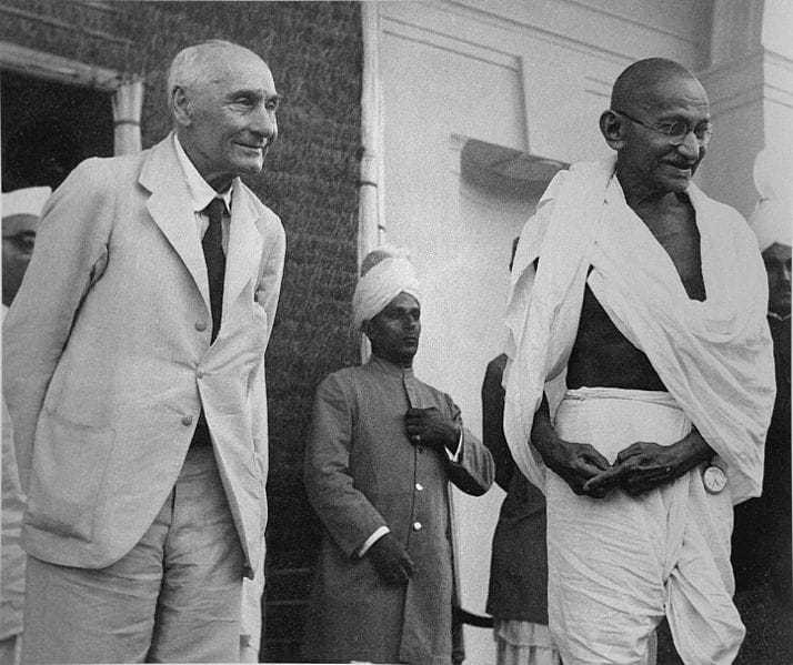 Lord Pethick-Lawrence, British Secretary of State for India, and Gandhi photographed as the latter was leaving after an interview, Delhi. April 18, 1946.