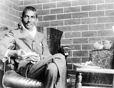 Mahatma Gandhi recuperating after his release from a South African jail in 1908. Photo taken at the house of Rev. J.J. Doke, his first biographer, Durban, February 10, 1908.