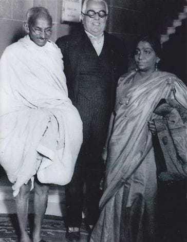 Gandhi with Aga Khan and Sarojini Naidu. Before 1942.