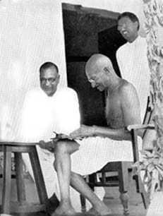 Mahatma Gandhi with Jamnalal Bajaj, Satyagraha Ashram, Wardha, 1934.