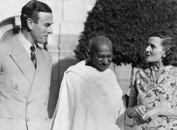 Mahatma Gandhi at his first meeting with Lord and Lady Mountbatten, New Delhi. April 2, 1947.