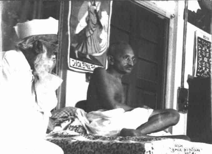 Mahatma Gandhi with Abbas Tyabji in 1934.