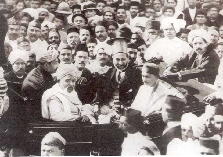 Mohandas Gandhi receives a big welcome in Karachi in 1916 after returning to India from South Africa.