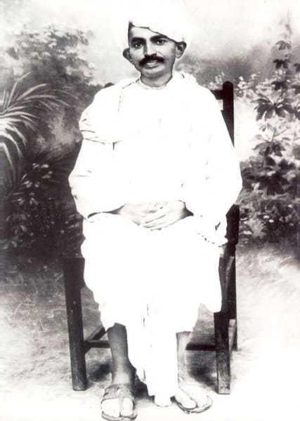 Gandhi in Kathiyawadi dress. 1915.