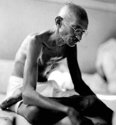Mahatma Gandhi in Mani Bhavan, Mumbai, 1934.