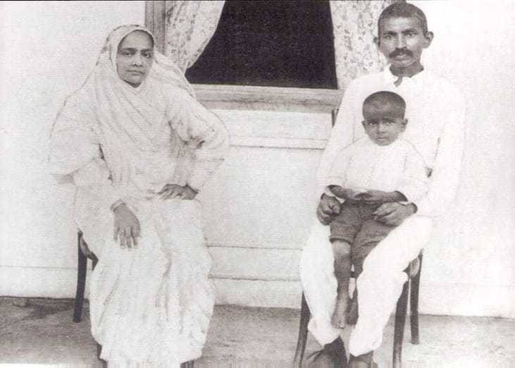At Verulam with his wife Kasturba and a boy, August 5, 1913