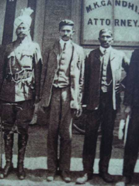 Mohandas Gandhi with his colleagues outside his office at Johannesburg