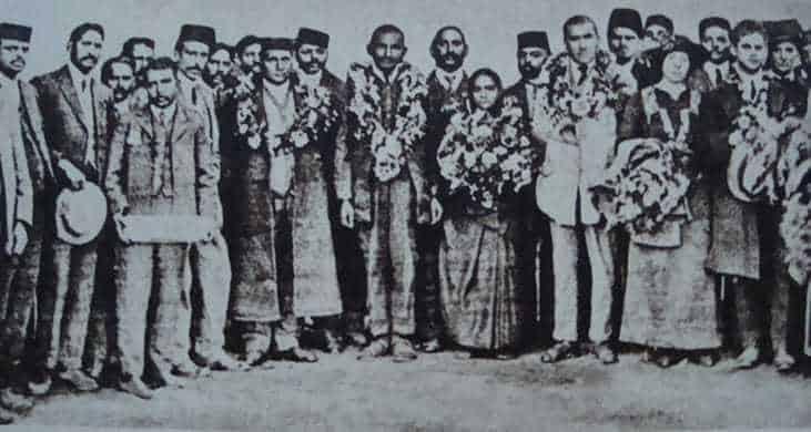 Farewell meeting for Dr. Hermann Kallenbach, Kasturba and Mahatma Gandhi at Cape Town, July 18, 1914.