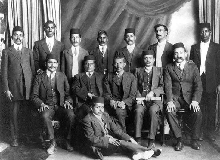 Mahatma Gandhi with associates in South Africa, 1914.