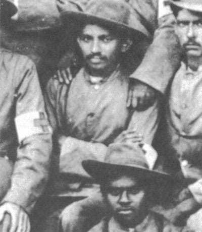 Mahatma Gandhi with the stretcher-bearers of the Indian Ambulance Corps during the Boer War, South-Africa