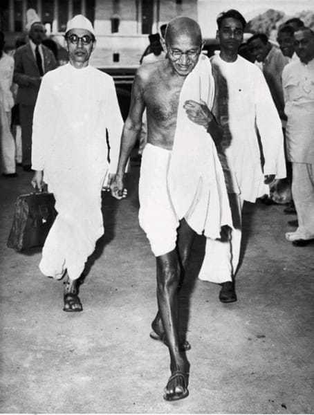 Mahatma Gandhi leaving the British Viceroy's House at 5.30 p.m., Delhi, April/May 1946.