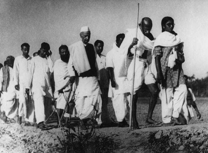 Gandhi in Noakhali, 1946.