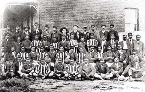 Pretoria Passive Resisters with striped jerseys, vs. Johannesburg Passive Resisters with plain jerseys played in Rangers Ground, Mayfair, Johannesburg, 1913