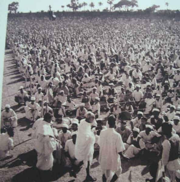 Mahatma Gandhi at a mass meeting in Bengal. 1945.