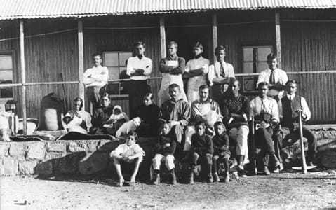 Pioneer settlers of Tolstoy Farm, 1910. Standing from right