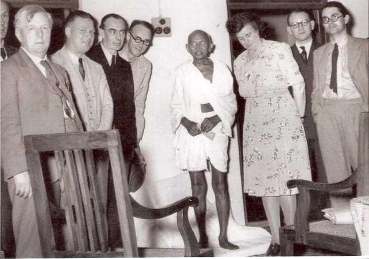 A British parliamentary delegation meets Mahatma Gandhi at Chennai Madras Tamilnadu India. 25 January 1946.