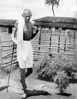 Gandhi on the ashram precincts, Segaon, January 1938.
