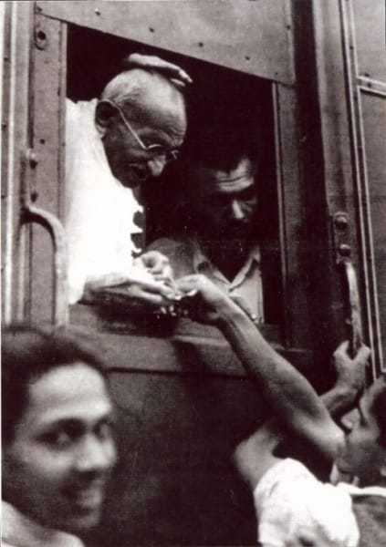 Collecting money for the Harijan Fund on his way to Poona, June 15, 1944.