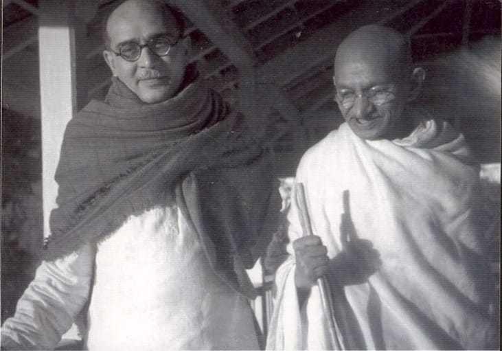 Gandhi with Mahadev Desai at Bardoli (Gujarat). 1939.