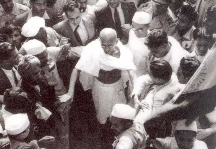 Mahatma Gandhi on the way to see the Viceroy at Simla. June 1945.