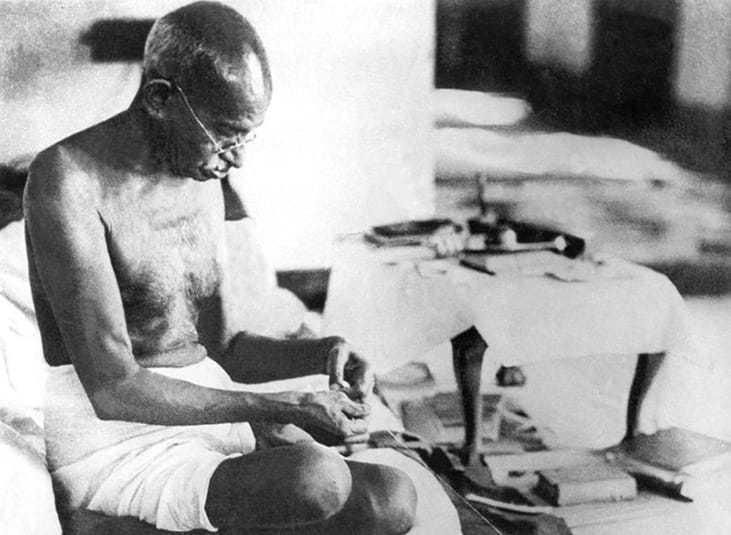 Gandhi at work, Bombay, August 1942.