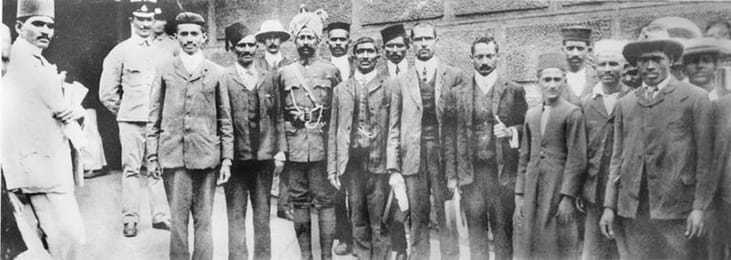 Gandhi outside the prison with fellow non-violent resisters in South Africa in 1908