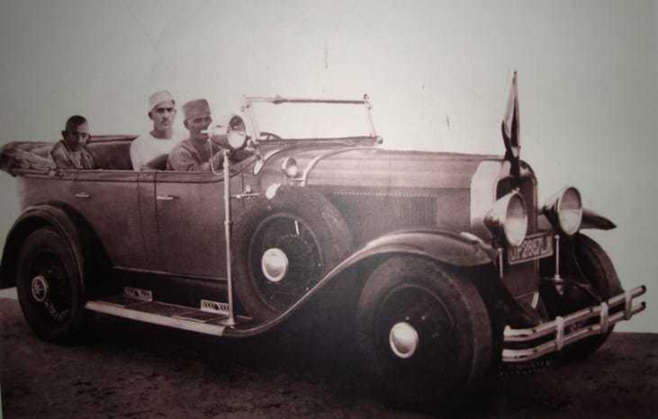 Gandhi with the ruler of Kalakankar State (North India) in his car. November 14, 1929.