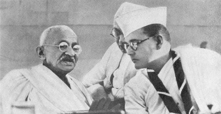 Congress president Bose with Mohandas K. Gandhi at the Congress annual general meeting. 1938.