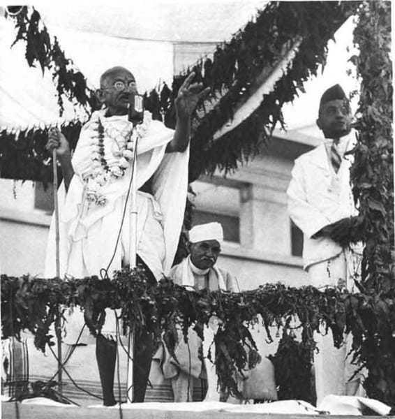 Mahatma Gandhi performing the opening ceremony of Kamla Nehru Hospital in Allahabad in 1941.