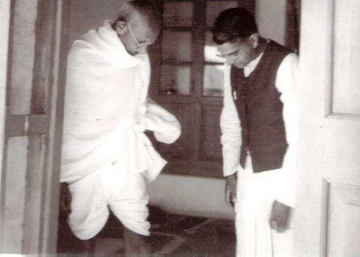 Mahatma Gandhi and Shriman Narayan at his residence Jeevan Kutir in Wardha. 1945.