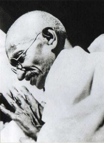 Gandhi at a discussion, 1936.