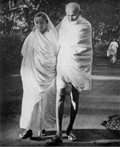 On his morning walk with Maniben Patel at Panchagani, July 1944.