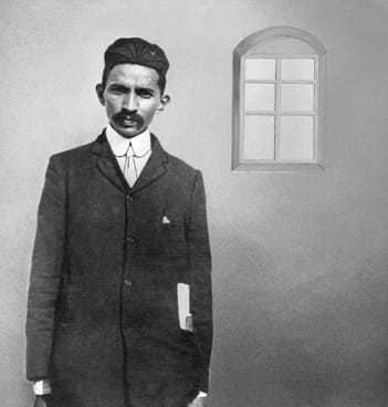 Mahatma Gandhi during the early years of legal practice, Johannesburg, 1900.