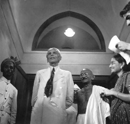 With Muslim leader Muhammed Ali Jinnah at Mumbai, September 1944.