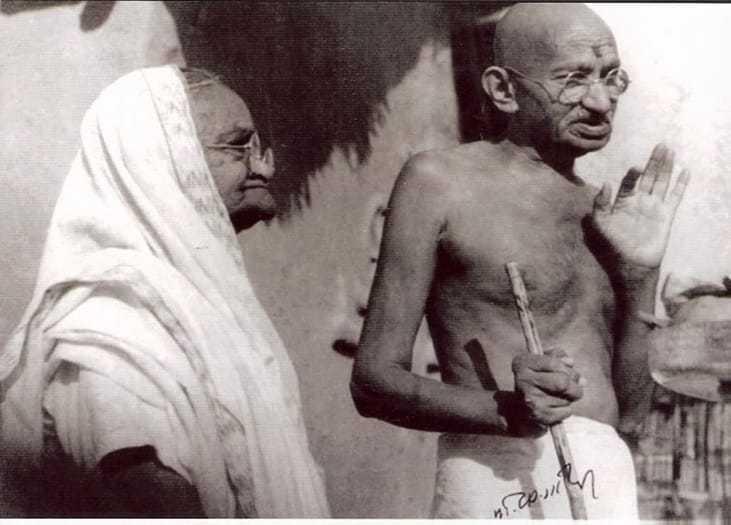 Ba and Bapu (mother and father) at Sevagram Ashram, January 1942.