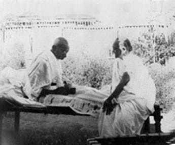 Gandhi and Kasturba at Segaon. January 1938.