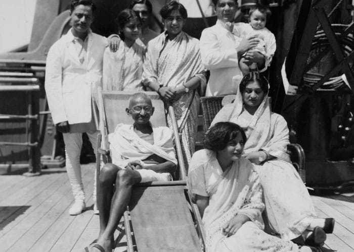 Mahatma Gandhi with fellow passengers during his voyage to England on board of S.S. Rajputana, August 1931.