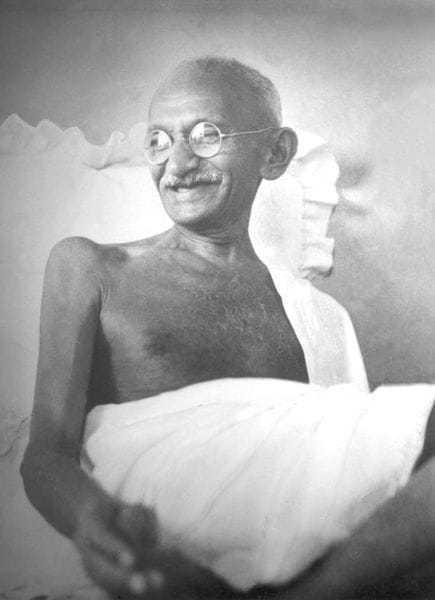 Mahatma Gandhi in light mood at Birla House, Mumbai, August 1942.