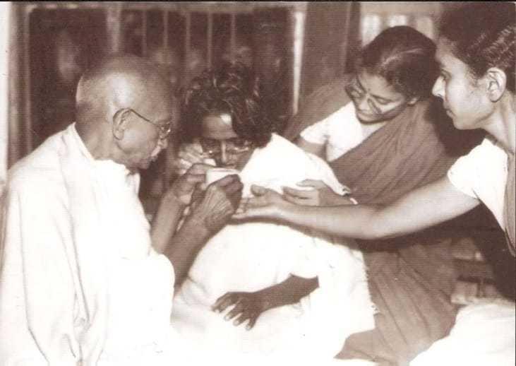 Mahatma Gandhi's visit to Amtus Salam on the day of her fast breaking Shirandi January 20th 1947.