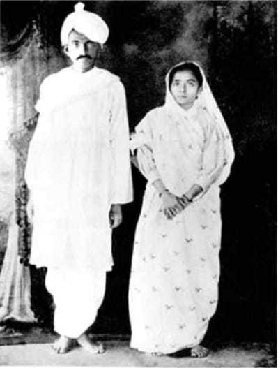 Kasturba and Mahatma Gandhi shortly after their return to India, 1915.  |  _7167313293