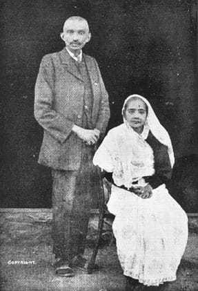 Kasturba and Mahatma Gandhi in Johannesburg, prior to their departure for England, July 1914.