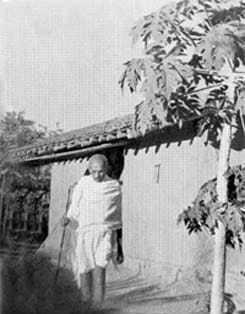 Gandhi in front of his hut at Segaon. January 1940.