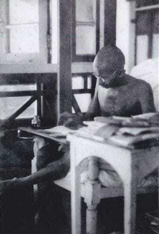 """Mahatma Gandhi convalescing at """"Palm Bun"""", Juhu, March-May 1924."""