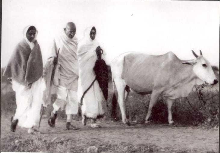 Mahatma Gandhi walking at Sevagram Ashram, 1934.