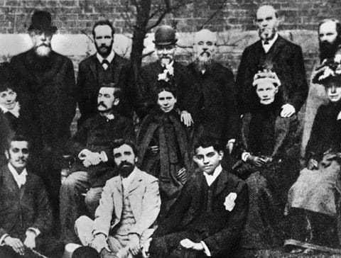 Mahatma Gandhi, front right, with members of the Vegetarian Society, London, 1890.
