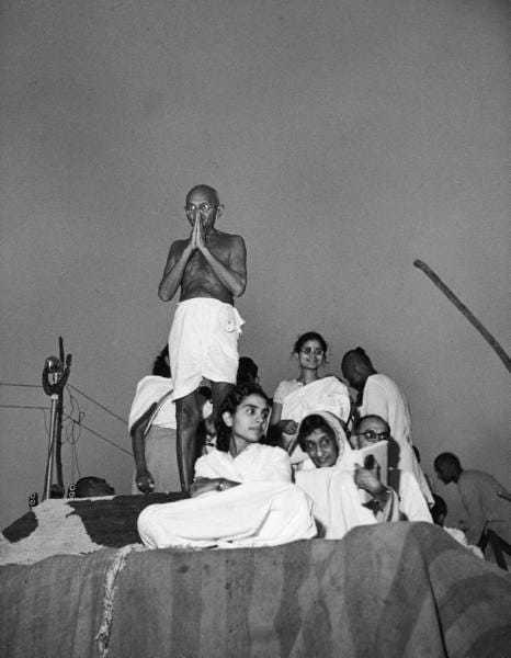 Mahatma Gandhi at a prayer session in 1946.