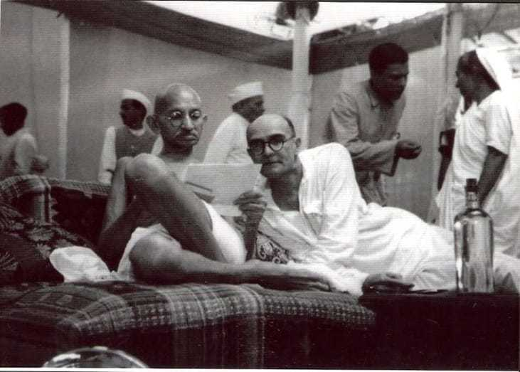 Mahatma Gandhi with Mahadev Desai at the All-India Congress Committee meeting, August 8, 1942.