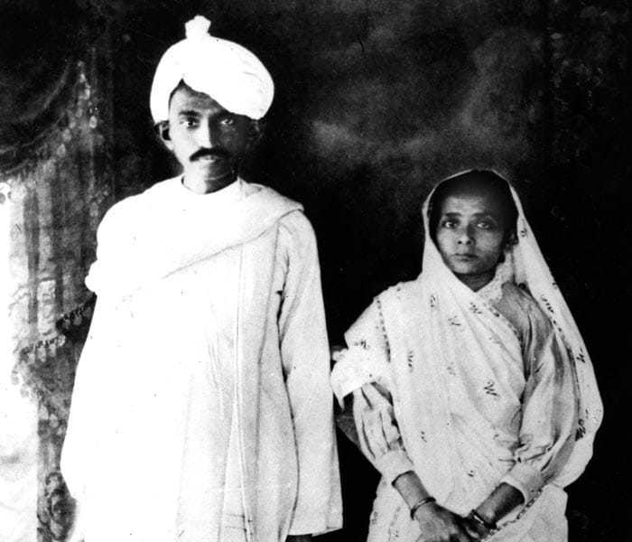Mohandas K. Gandhi with his wife, Kasturba, on their return to India from South Africa in 1915.