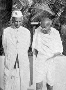 Mahatma Gandhi with the Harijan leader Thakkar Bapa at Chennai Madras Tamilnadu India January 1946.