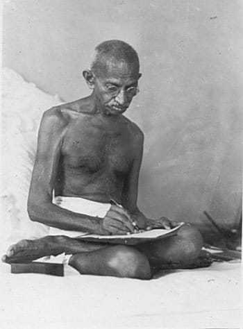 Writing a draft for the 1942 Quit India Resolution, Bombay, August 1942.